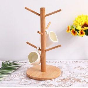 Bamboo Cup Holder Mug Tree Storage Rack Hook Tree